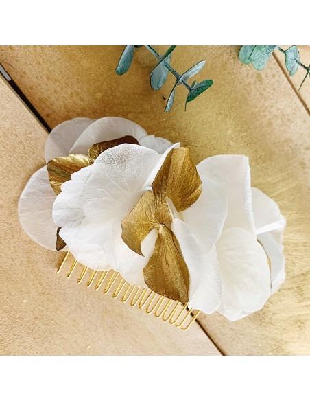 Peigne Maria - hortensias blancs et dorés - BFlower - Comptoir Doré