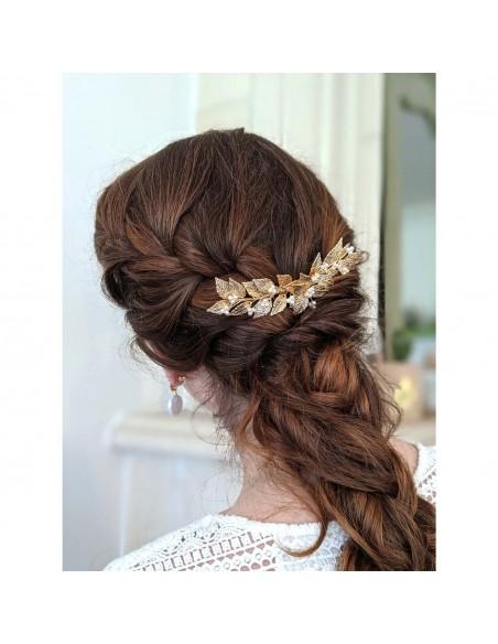 Peigne Adonis Perle - Peigne feuilles dorées et perles - Comptoir Doré