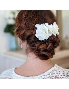 Peigne Colombe - peigne hortensias blancs - Comptoir Doré