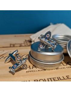 Boutons de manchette Avion rétro Spitfire - Comptoir Doré