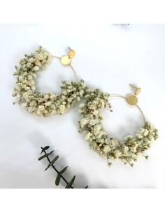 Boucles d'oreilles Gypsophile - fleurs stabilisées - BFlower - Comptoir Doré