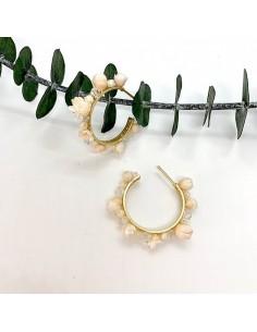 Boucles d'oreilles Rosa - créoles fleurs séchées - BFlower - Comptoir Doré