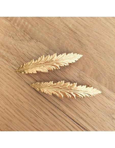 Barrette feuille dorée Garance - Comptoir Doré