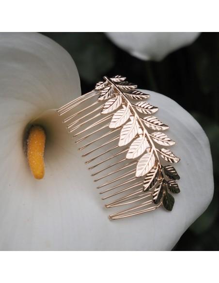 Peigne Calleis - peigne mariée feuilles dorées - Comptoir Doré