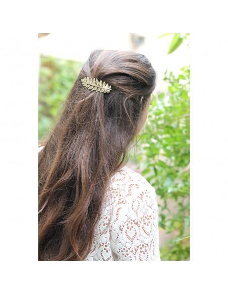 Barrette Calleis - barrette feuilles dorées - Comptoir Doré